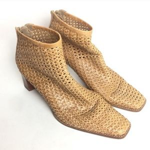 Stuart Weitzman Camel Woven Caged Ankle Boots 8.5